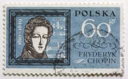 Frederic Chopin on a post stamp. A vintage, canceled,  post stamp from Poland with a portrait of Frederic Chopin Royalty Free Stock Image