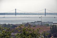 Fredericia e ponte Fotografia Stock
