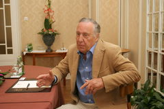 Frederick Forsyth. St. Petersburg, Russia - August 04, 2006: The famous English writer Frederick Forsyth at a press conference stock photos
