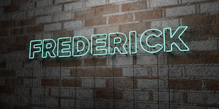FREDERICK - Glowing Neon Sign on stonework wall - 3D rendered royalty free stock illustration Royalty Free Stock Photos