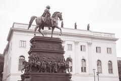 Frederick the Great Statue on Unter den Linden Street in Berlin. (1850); Germany in Black and White Sepia Tone Stock Images