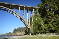 The Frederick W. Panhorst Bridge, more commonly known as the Russian Gulch Bridge in Mendocino County, California USA. The Frederick W. Panhorst Bridge, more Royalty Free Stock Image