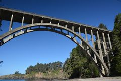 The Frederick W. Panhorst Bridge, more commonly known as the Russian Gulch Bridge in Mendocino County, California USA Stock Photo