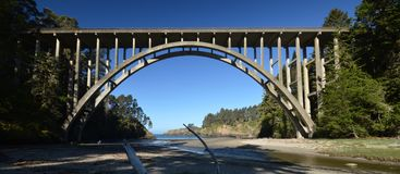The Frederick W. Panhorst Bridge, more commonly known as the Russian Gulch Bridge in Mendocino County, California USA. The Frederick W. Panhorst Bridge, more Stock Images