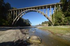 Frederick W Panhorstbrug, die meer in het algemeen als de Russische Ravijnbrug wordt bekend in Mendocino-Provincie, Californië de Royalty-vrije Stock Foto's