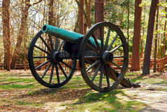 Fredericksburg Civil War Battlefield. A Civil War era cannon is on display at the Fredericksburg National Battlefield Stock Photo