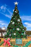 FREDERICKSBURG, TEXAS- NOVEMBER 19, 2017: Fredericksburg comunity christmas tree installed in Marktplats Market Square on a sunn. Fredericksburg community royalty free stock photo