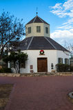 Fredericksburg landmark. Vereins Kirche in the Marktplatz, Fredericksburg, Texas, home of the Pioneer Museum. With a wreath above the door for the Christmas stock photo