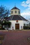 Fredericksburg landmark. Vereins Kirche in the Marktplatz, Fredericksburg, Texas, home of the Pioneer Museum. With a wreath above the door for the Christmas Stock Photo