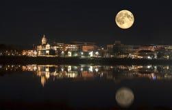 Fredericton in het maanlicht New Brunswick, Canada stock fotografie