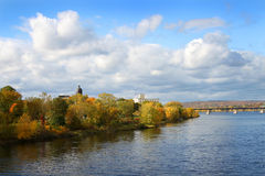 Fredericton New Brunswick, Canada. View of the Saint John River in Fredericton, New Brunswick, Canada showing bridge and Fall foliage royalty free stock images