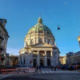 Frederik kościół, znać jako Marmurowy kościół dla swój rokokowej architektury, Ewangelicki Luterański kościół w Kopenhaga, Dani obraz stock