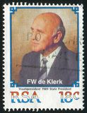 Frederik Willem de Klerk. SOUTH AFRICA - CIRCA 1989: stamp printed by South Africa, shows Frederik Willem de Klerk, circa 1989 Royalty Free Stock Image
