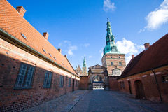 Frederiksborg Castle. Danish: Frederiksborg Slot is a palatial complex in Hillerød, Denmark. It was built as a royal residence for King Christian IV of Denmark Stock Image
