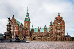 Frederiksborg Castle and Neptune Fountain in Hillerod Stock Photography