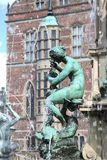 Frederiksborg palace. Statue (fontain) in front of Frederiksborg palace in Denmark royalty free stock images