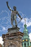 Frederiksborg palace. Statue (fontain) in front of Frederiksborg palace in Denmark stock images