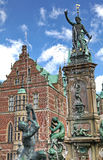 Frederiksborg palace. Statue (fontain) in front of Frederiksborg palace in Denmark stock photo