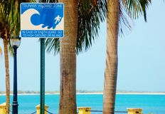 Frederiksted us virgin islands hazard zone sign Royalty Free Stock Photos