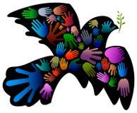 Fredfågel med händer vektor illustrationer