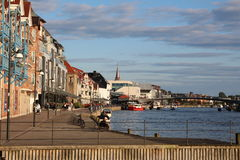 Fredrikstad-Flusspromenade Stockfoto