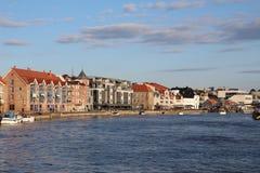 Fredrikstad-Flusspromenade Stockbilder