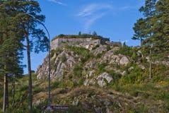 Fredriksten fästning (den guld- lionforten) Arkivbilder