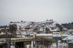 Fredriksten Festung abgedeckt im Schnee Lizenzfreie Stockfotos