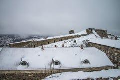 Fredriksten-Festung, Nord-Curtin-Wand (Winter-Szene) Lizenzfreie Stockfotos