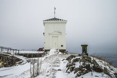 Fredriksten fortress, The bell tower (east facing, winter Scene) Stock Photo