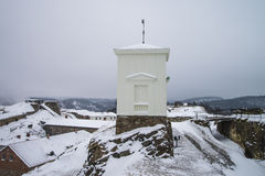Fredriksten fortress, The bell tower (west facing, winter Scene) Royalty Free Stock Image