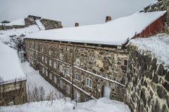 Fredriksten fortress, The Eastern Curtine Wall (Winter Scene) Stock Image