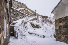 Fredriksten fortress, The Eastern Curtine Wall (Winter Scene) Stock Photography
