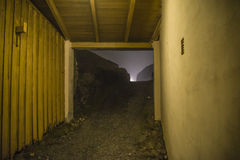 At fredriksten fortress in the fog and darkness Stock Photos