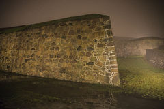 At fredriksten fortress in the fog and darkness stock image