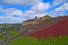 Fredriksten fortress in halden. Picture shows the roof of prince george's bastion, which today is the bakery and brewery, then it is the queen's bastion with the Stock Photo