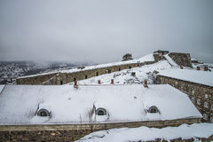 Fredriksten fortress, Northern Curtin Wall (Winter Scene) Royalty Free Stock Photos
