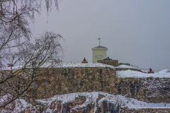 Fredriksten fortress, The Southern Curtine Wall (Winter Scene) Stock Image