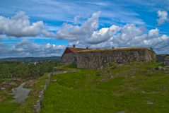 Fredriksten fortress (upper rock fort) Stock Photography