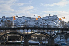 Fredriksten fortress in the winter. Fortress in Halden is beautiful in the winter Stock Image