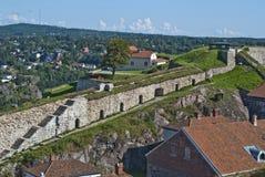 Fredriksten fästning (gardinväggen) Arkivfoton