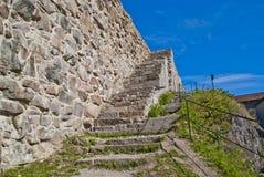 石墙在fredriksten堡垒halden 免版税库存照片