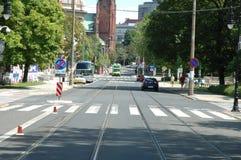 Fredry gata i Poznan, Polen Arkivfoto