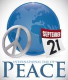 Fredsymbol, kalender och jordklot för internationell dag av fred, vektorillustration Stock Illustrationer