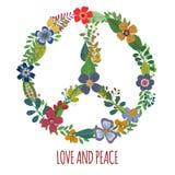 Fredsymbol med färgrika blommor vektor illustrationer