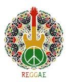 Fredsymbol och gitarr på utsmyckad mandalabakgrund Arkivbild