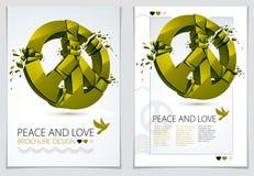 Fredsymbol som bryter till den realistisk illustrationen och reklamblad för styckvektor 3d, bruten fred, antiwar möte och protest vektor illustrationer