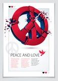 Fredsymbol som bryter till den realistisk illustrationen och reklamblad f?r styckvektor 3d, bruten fred, antiwar m?te och protest royaltyfri illustrationer