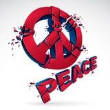 Fredsymbolet som bryter till den realistiska illustrationen för styckvektorn 3d, bruten fred, det antiwar mötet och protestdemons stock illustrationer