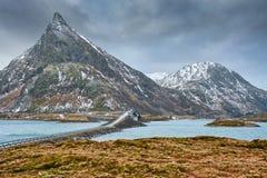 Fredvangbruggen De Eilanden van Lofoten, Noorwegen Stock Foto